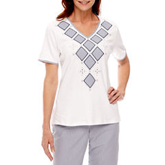 Alfred Dunner Garden Party Short Sleeve V Neck T-Shirt