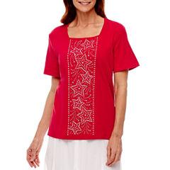 Alfred Dunner Short Sleeve Square Neck T-Shirt