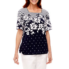 Alfred Dunner Lady Liberty Short Sleeve Square Neck T-Shirt
