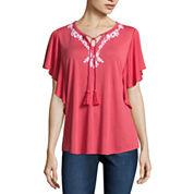 Liz Claiborne 3/4 Sleeve Split Crew Neck T-Shirt