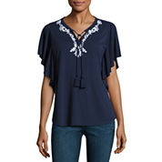Liz Claiborne 3/4 Sleeve Split Crew Neck T-Shirt
