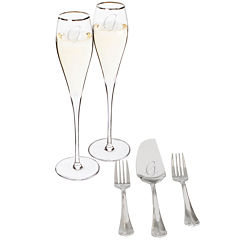 Cathy's Concepts Wedding 5-pc. Personalized Mr. & Mr. Champagne Flutes and Cake Serving Set