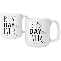 Cathy's Concepts Best Day Ever Set of 2 Personalized Large Coffee Mugs