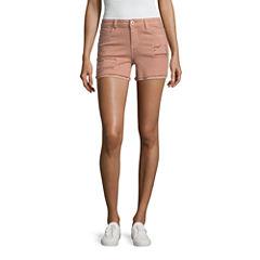 Vanilla Star Blush Destructed Midi Shorts-Juniors