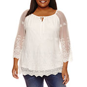 Alyx 3/4 Sleeve Tie Neck Embroidered Woven Blouse-Plus