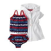 Carter's® 3-pc. 4th of July Ruffle Swim Set - Baby Girls newborn-24m