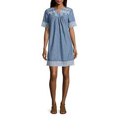 St. John's Bay Elbow Sleeve A-Line Dress