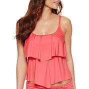 Liz Claiborne Solid Tankini Swimsuit Top