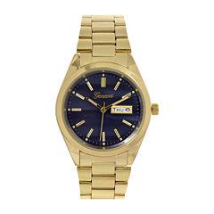 Geneva Womens Navy Dial Gold-Tone Strap Bracelet Watch