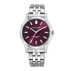 Armitron® Mens Burgundy Dial Stainless Steel Bracelet Watch
