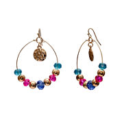 Mixit™ Rainbow Bead & Gold-Tone Gypsy Hoop Earrings