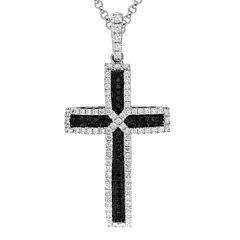 LIMITED QUANTITIES 3/4 CT. T.W. White and Color-Enhanced Black Diamond Cross Pendant Necklace