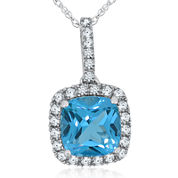 Genuine Blue Topaz & Lab-Created White Sapphire Sterling Silver Pendant Necklace