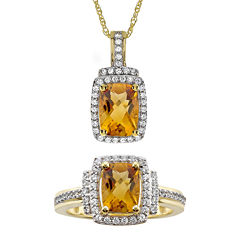 Genuine Citrine & Lab-Created White Sapphire Pendant Necklace & Ring Set