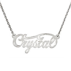 Personalized 14x37mm Satin Diamond-Cut Name Necklace