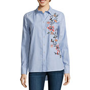 a.n.a Modern Fit Long Sleeve Button-Front Shirt