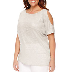 Worthington® Short Sleeve Cold Shoulder Dolman T-Shirt - Plus
