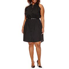 Worthington® Sleeveless Belted Shirt Dress - Plus