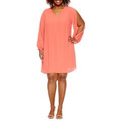 Worthington® Split Sleeve V-Neck Shift Dress - Plus