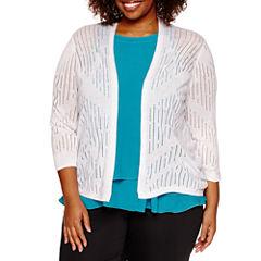 Worthington® 3/4 Sleeve Open Stitch Cardigan - Plus