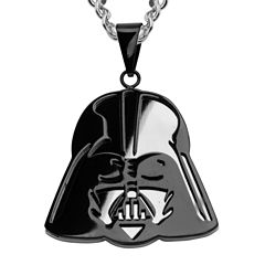 Star Wars® Black Stainless Steel Darth Vader Mirror Pendant Necklace
