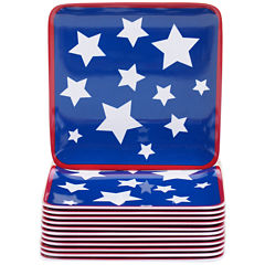 Certified International Stars & Stripes Set of 12 Melamine Canape Plates