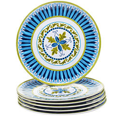 Certified International Blue Grotto Set of 6 Melamine Salad Plates