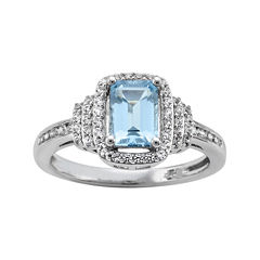 Genuine Aquamarine & Lab-Created White Sapphire Ring