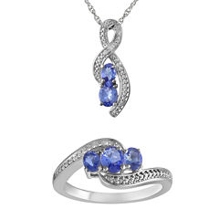 Genuine Tanzanite and Diamond Accent Pendant Necklace and Ring Set