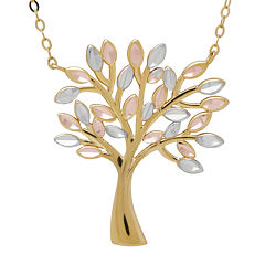10K Tri-Color Gold Family Tree Pendant Necklace
