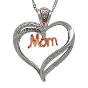 Sterling Silver & 14K Rose Gold Diamond Accent Mom Heart Pendant Necklace
