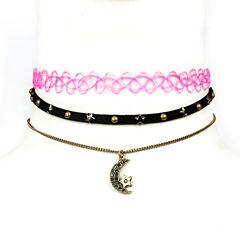 Decree Freeform Womens Gray Choker Necklace