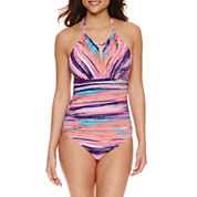 Liz Claiborne Stripe One Piece Swimsuit or Coverup