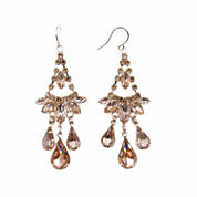 Vieste Rosa Pink Brass Chandelier Earrings