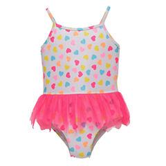 Candlesticks Heart Print One Piece Swimsuit Baby Girls