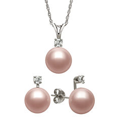 Pink Cultured Freshwater Pearl & Genuine White Topaz Sterling Silver 2-pc. Set