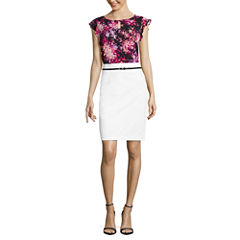 Worthington Short Flutter Sleeve Keyhole T-Shirt and Sateen Belted Pencil Skirt