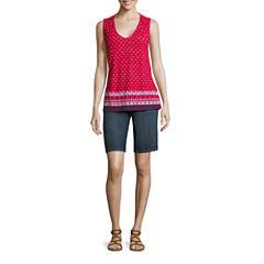 Liz Claiborne Sleeveless Smocked Tank Top and Bermuda Shorts