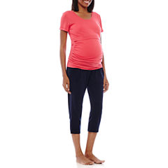 Spencer Maternity Short-Sleeve Nursing Top and Capris Pajama Set