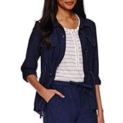 Liz Claiborne® Linen-Cotton Roll-Tab Cargo Anorak Jacket - Tall