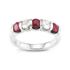 Genuine African Ruby & White Sapphire Sterling Silver Ring