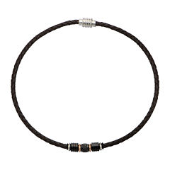 Inox® Jewelry Mens Two-Tone Stainless Steel & Brown Leather Braided Necklace