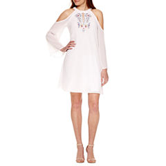 Nicole By Nicole Miller Cold Shoulder Long Sleeve Shift Dress