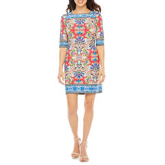 Studio 1 3/4 Sleeve Shift Dress