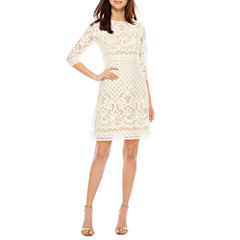 Danny & Nicole 3/4 Sleeve Lace Shift Dress