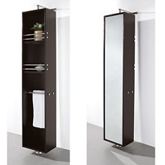 Wyndham Collection Claire Linen Tower & 360 DegreeRotating Floor Cabinet