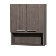 Wyndham Collection Amare Bathroom Wall-Mounted Storage Cabinet in Gray Oak (Two-Door)