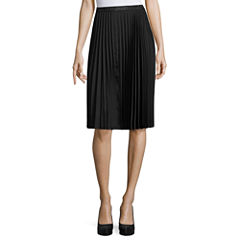 Liz Claiborne Solid Woven Pleated Skirt