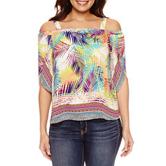 Bold Elements Split Sleeve Off The Shoulder Top