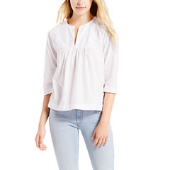 Levi's 3/4 Sleeve Split Crew Neck Blouse
